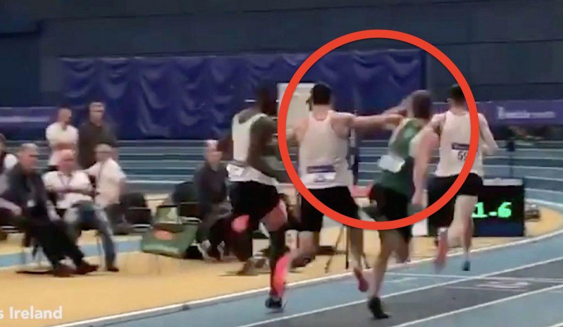 Impresionante empujón en la final de 400 metros del Campeonato de Irlanda