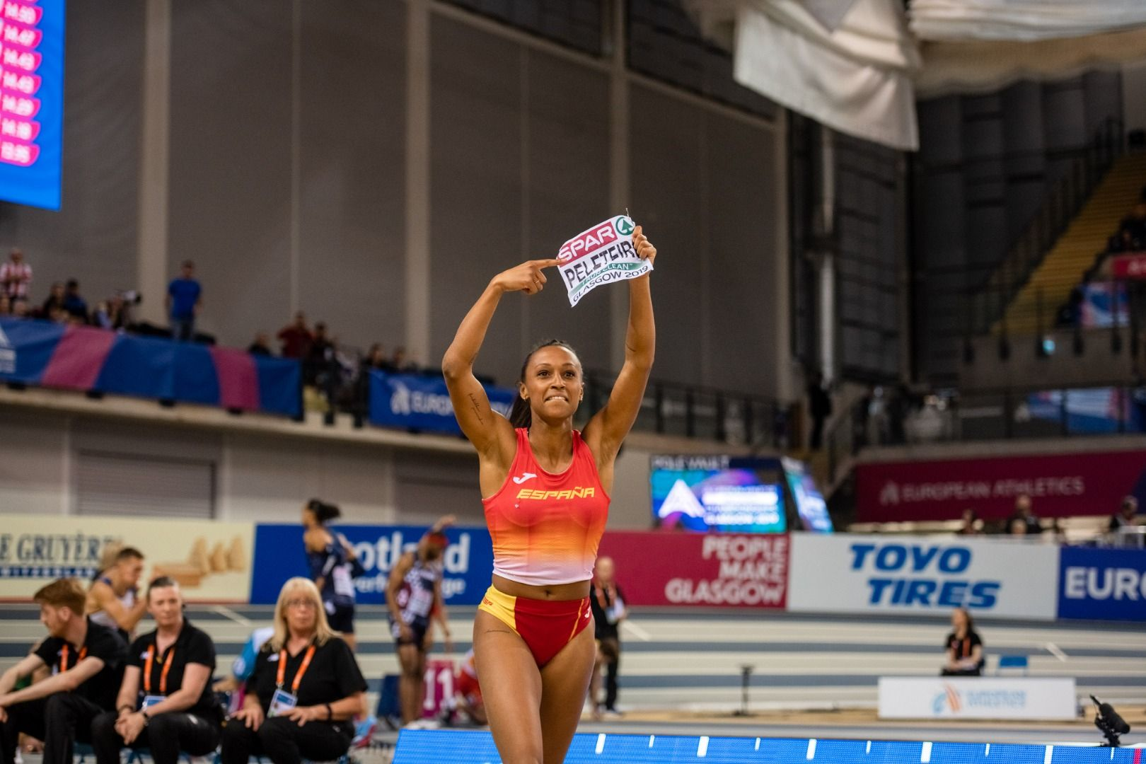 Ana Peleteiro, después de proclamarse campeona de Europa de triple salto