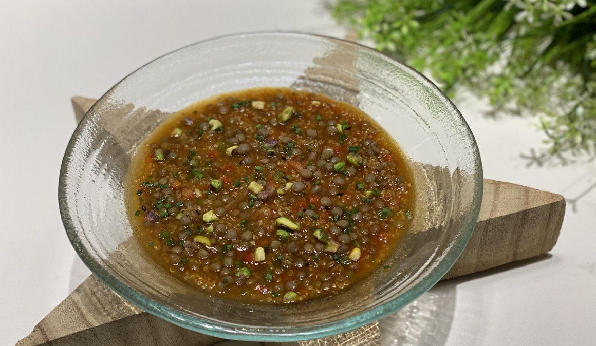 Guiso nutritivo de invierno: Lentejas estofadas con quinoa