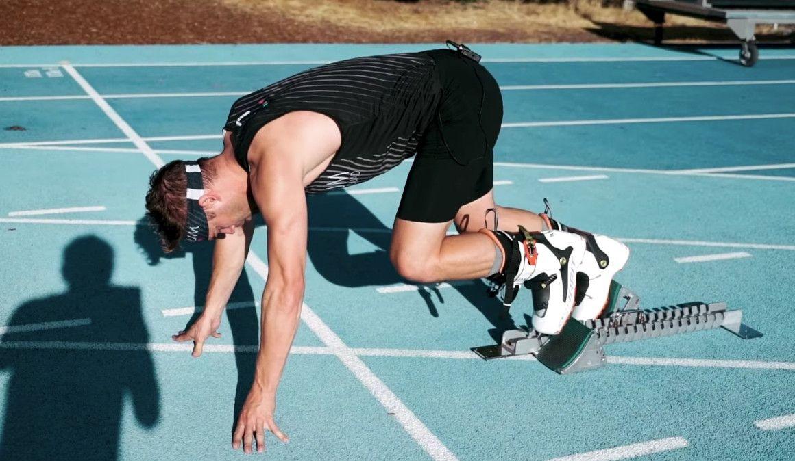 Nick Symmonds, nuevo récord del mundo de 100m ¡con botas de esquí!